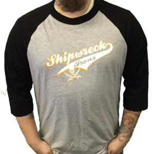 Grey/Black 3/4 Sleeve Baseball Tee
